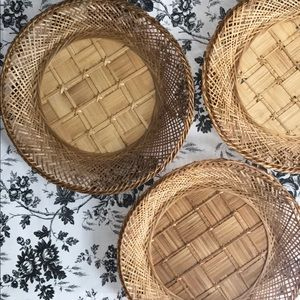 Set of 3 boho vintage plate baskets